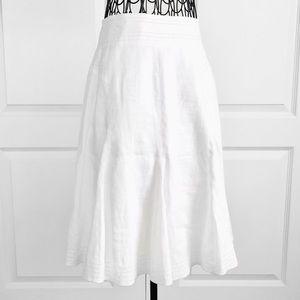 Vintage A-Line White Midi Linen Skirt Size 4